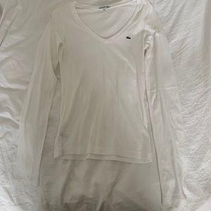 Lacoste White V-Neck Long Sleeve T-shirt